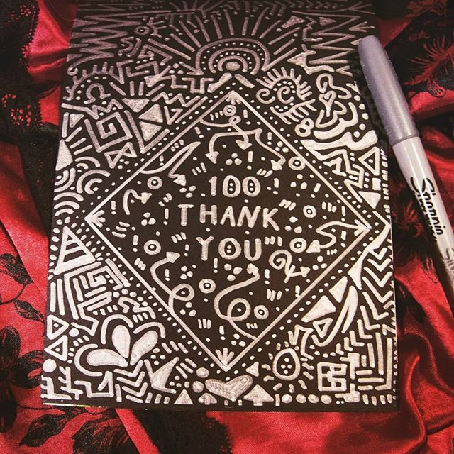 100 followers!! Thank you guys! Freehand pattern made on black paper with a silver Sharpie, looks like it was already print like this :) #hennadesign #tribalart #100followers #hennalove #hennaart #silver #sharpieart #sharpieartist #whiteonblack #blackpaper #zentangle #zentangleart #zendoodle #zenart #sharpie #freehand #pattern #sketch #doodle #doodlelove #doodleartist #doodleart #owncreation #l4l #likelikelike #followme #artlike #artlove #artlovers #thankyou