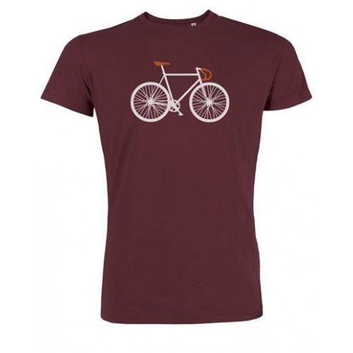 """T-shirt """"Bike"""" bordeaux, gemaakt door Greenbomb. Het shirt is koel, zacht en soepel en is gemaakt van 100% biologisch katoen."""