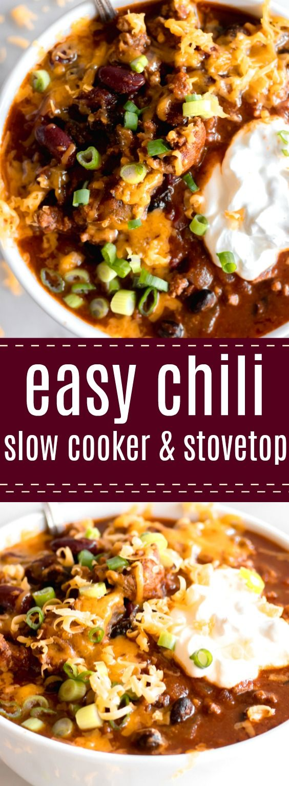 Easy Chili Recipe. Quick and filling! This easy chili recipe can be made in the slow cooker or as a one pot 30 minute meal. Loaded with beef, beans, chiles and more this hearty chili is perfect for loading up with all your favorite toppings. #chili #slowcooker #30minutedinner