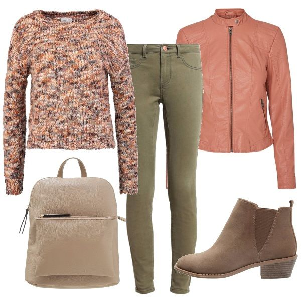 Un outfit comodo e semplice, perfetto per gli impegni della quotidianità, o per una rilassante passeggiata autunnale. E' proprio alle sfumature più tenui dell'autunno che l'outfit si ispira: pantaloni chino verde militare, maglioncino di un bel melange rosa, grigio e beige, giubbottino dusty cedar, stivaletti e zainetto taupe.