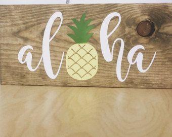 Aloha Sign - Wood Aloha Sign - Aloha Wall Hanging - Pineapple Sign - Wooden  Pineapple Sign - Wood Pineapple Sign - Hawaiian Wall Hanging