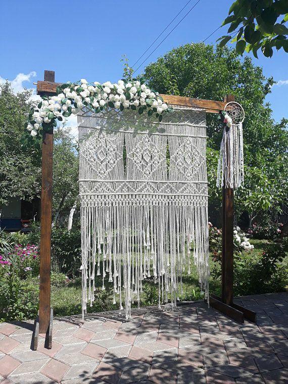Xl Makramee Zeremonie Kulisse Bohmische Hochzeit Retro Hochzeit Stil Der 70er Kulisse Boho Hochzeit Dek Retrohochzeit Hochzeit Hintergrund Hochzeitsdekoration