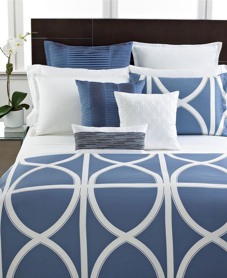 Hotel Collection Alabaster: Hotel Collection Modern Transom Blue Bedding Collection