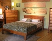 Modern style Walnut Sleigh bed QUEEN. $1,899.00, via Etsy.