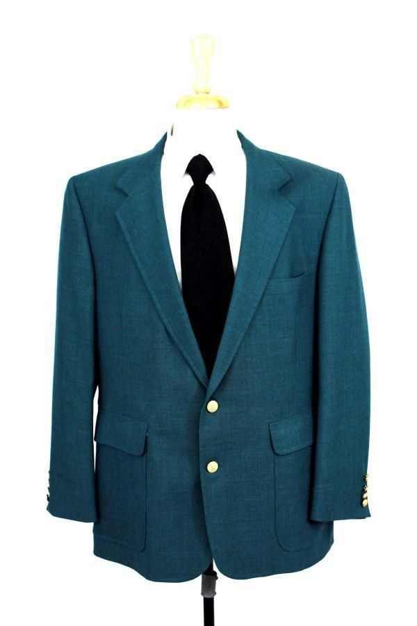 mens green HARDWICK blazer jacket sport coat gold crest buttons wool L 42 43 R #Hardwick #TwoButton
