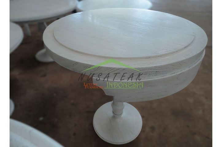 Narendra Round Tea Table in White Wash | Luxury Furniture From Indonesia