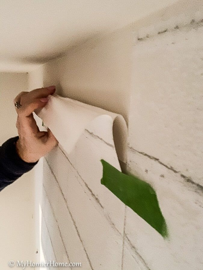 How To Hang Peel And Stick Wallpaper The Easy Way My Homier Home Peel And Stick Wallpaper Wall Closet Wallpaper