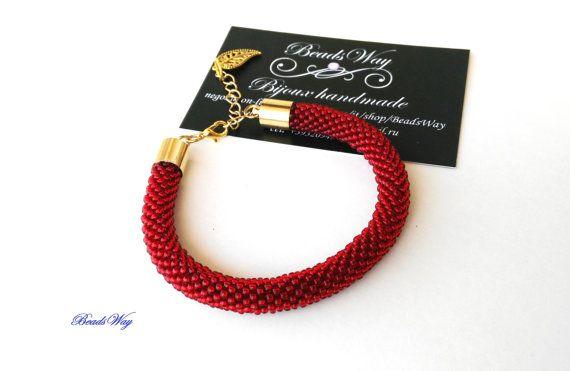 Bracelet /Bracelet of beads/Bracelet red Bracciale di di BeadsWay