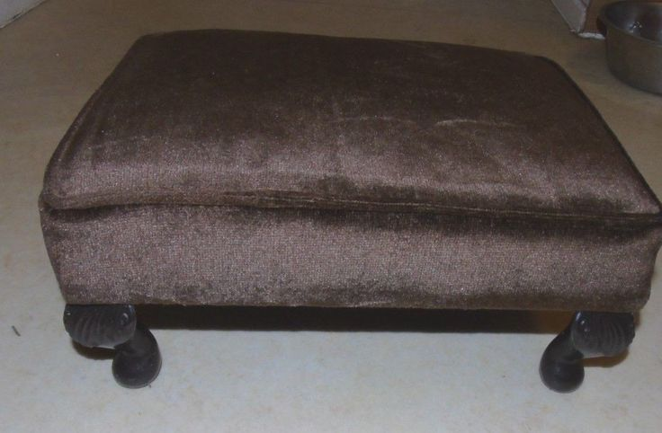 Brown Velour Upholstered Footstool with Queen Ann Style Legs | eBay