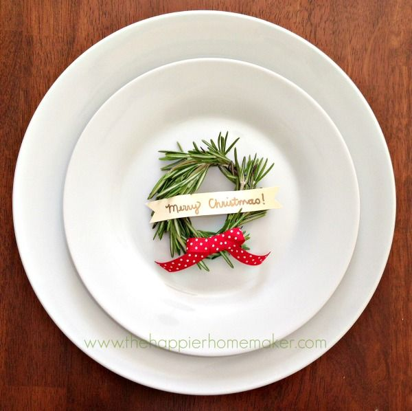 perfect for Christmas! Rosemary Wreath Place Card