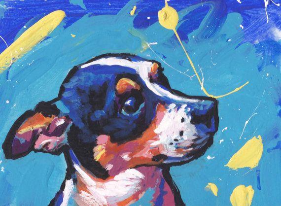 Tricolor Rat Terrier dog pop art print of by BentNotBroken