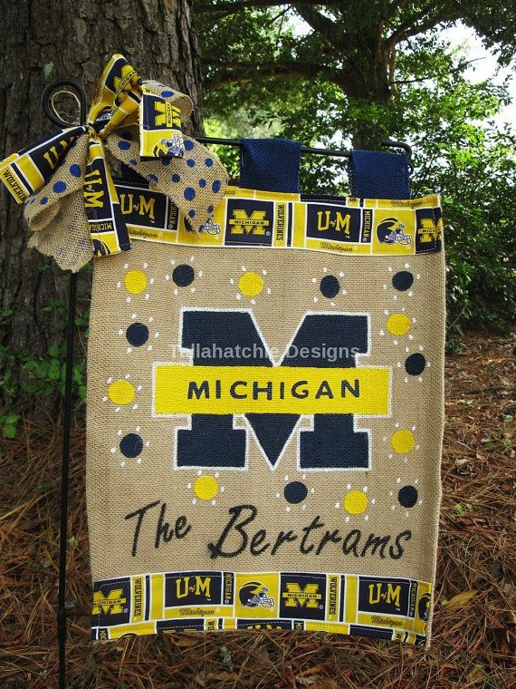 Michigan Wolverines Garden Flag* Burlap Garden Flag On Sale Now. Great Christmas Gift.