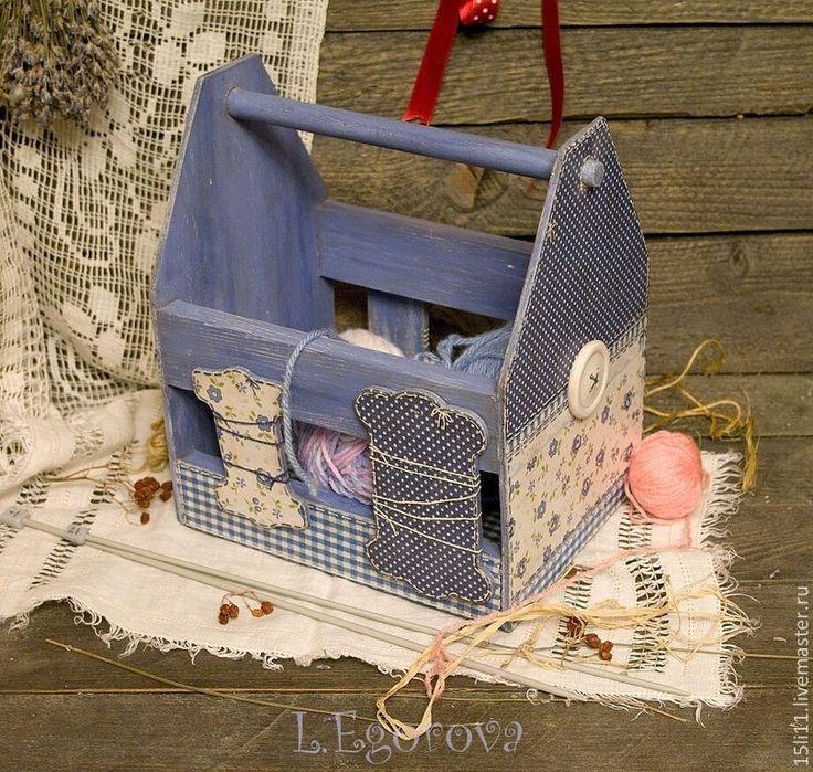 """Купить Ящик для хранения шерсти """"КРАСАВЧИК"""" - голубой, ящик для хранения, ящик для рукоделия, Подарок рукодельнице"""