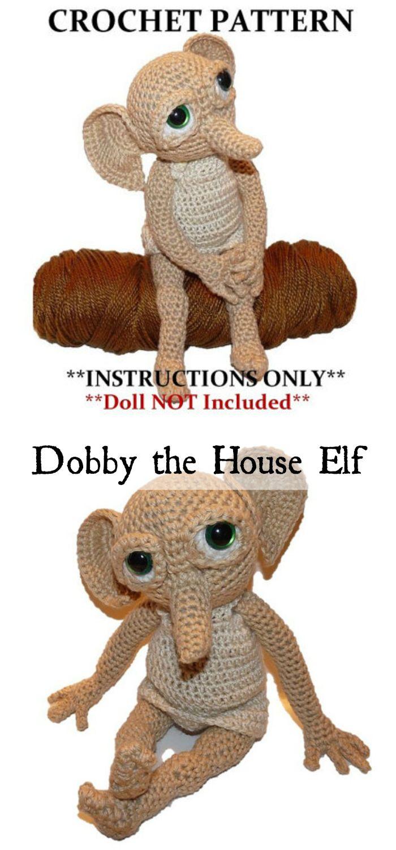 Harry Potter Dobby the House Elf doll crochet pattern. This little guy is soooo great! I think my Potter-head daughter would love him! #amigurumi #crochet #stuffy #harrypotter #dobby #handmadegifts #pattern #etsy #affiliatelink