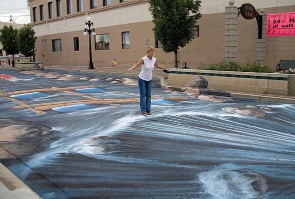 3D chalk art.