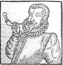 The earliest depiction of a European man smoking, from Tobacco by Anthony Chute, 1595