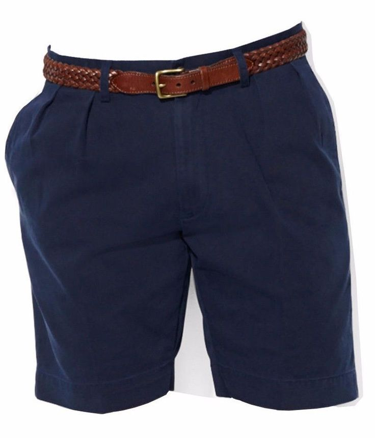 POLO RALPH LAUREN men BIG & TALL ETHAN PLEATED Chino SHORTS Classic-Fit NAVY 40T