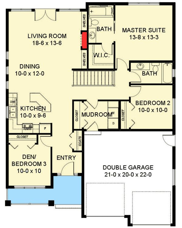 Everything On One Floor - 67725MG | 1st Floor Master Suite, CAD Available, Canadian, Craftsman, Den-Office-Library-Study, Narrow Lot, Northwest, PDF | Architectural Designs