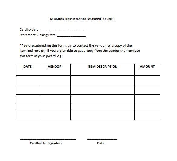 Itemized Receipt Template Receipt Template Templates Printable Free Templates