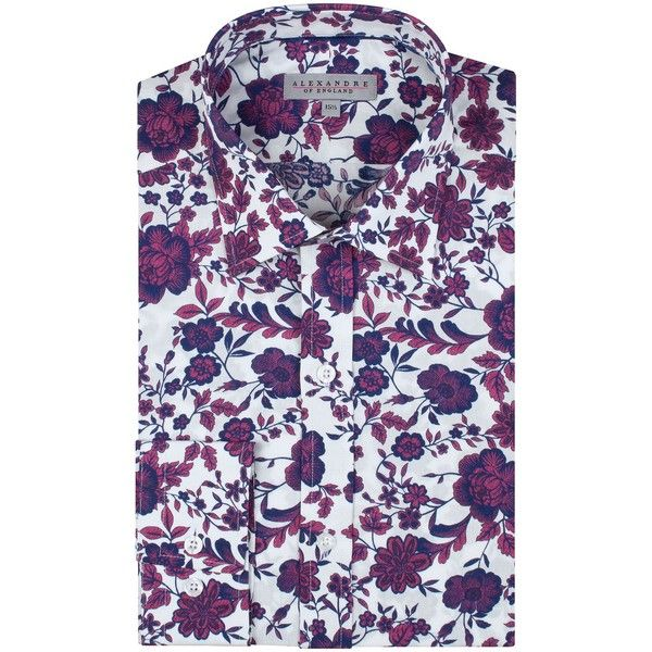 Alexandre of England Wrea White Magenta Floral Shirt ($65) ❤ liked on Polyvore featuring men's fashion, men's clothing, men's shirts, men's dress shirts, men shirts formal shirts, mens white dress shirts, mens white formal shirt, mens floral dress shirts, mens french cuff shirts and mens floral shirts