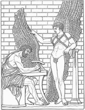 "In Greek mythology, Daedalus (Ancient Greek: Δαίδαλος or Daedalos, meaning ""clever worker"") was a skillful craftsman and artisan. He is the father of Icarus and Iapyx and the uncle of Perdix. He also created the Labyrinth on Crete, in which the Minotaur (part man, part bull) was kept. Daedalus built the labyrinth for King Minos, who needed it to imprison his wife's son the Minotaur."