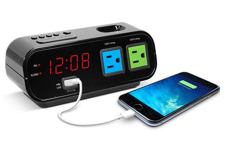 Digital Alarm Clock with Power Outlets and USB Charge Port