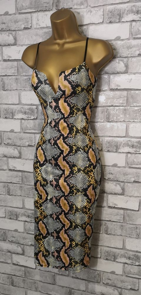 NEW Black Snake Midi Bodycon Pencil Wiggle Evening Christmas Party