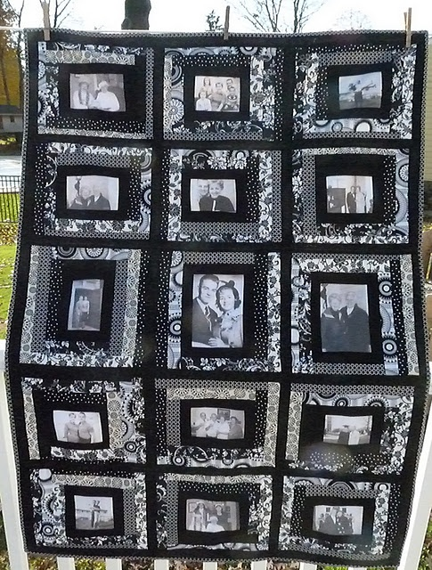 Quilt through the ages. The middle of each block is a picture of her grandparents! SUCH a great gift!
