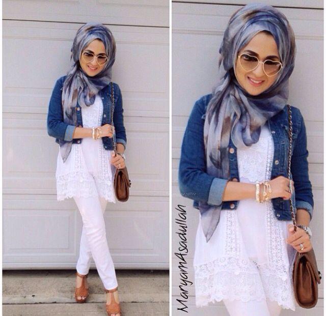 Hijab white jeans denim jacket