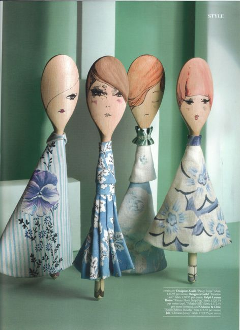 sweet and blue - wooden spoon dolls by Abigail Edwards (http://www.abigailedwards.com)