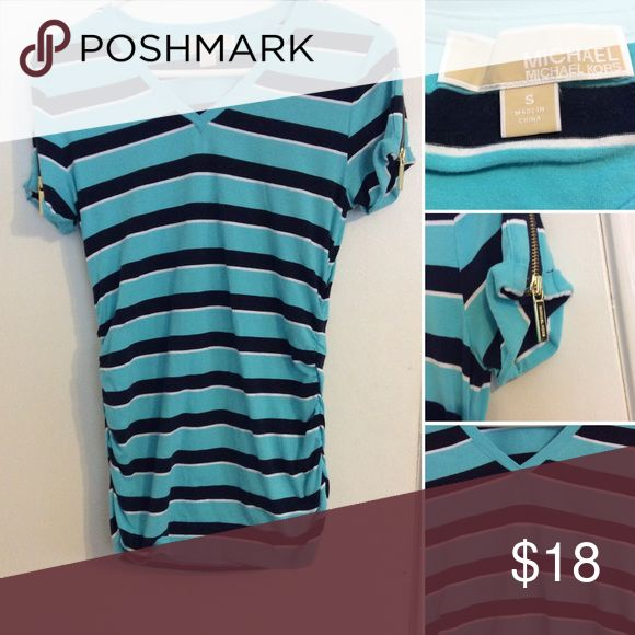MICHAEL Michael Kors striped short sleeved top This Michael Kors short sleeve top is in excellent new condition. It has a striped pattern to it in a pretty shade of blue and black. It is a v neck collar and the sides are a scrunched style. The sleeves have the signature MKGold zippers. It's a size small and is a cotton blend MICHAEL Michael Kors Tops