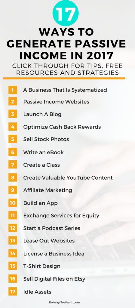 Discover 17 ways anyone can generate passive income online and offline in 2017,