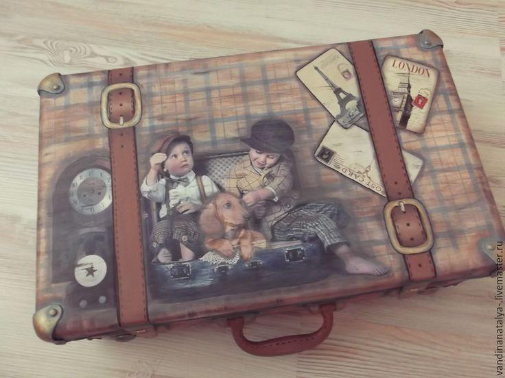 Купить Чемодан для юного джентльмена. - чемодан, коричневый, винтажный стиль, комната для мальчика, короб для игрушек