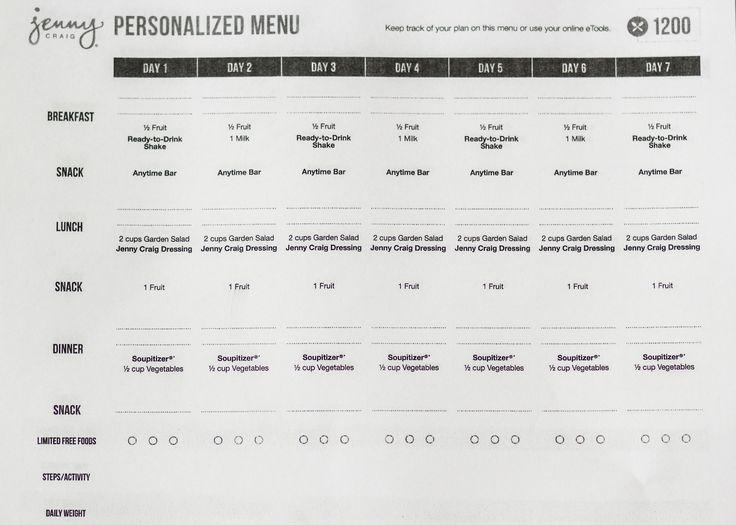 Jenny Craig Personalized menu for a 1200 calorie diet ...