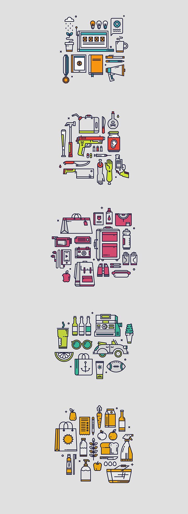 simboli flat di strumenti di varia origne  mi piace la semplicità del disegno e la sintesi che va sia dalla linea fino ai colori (che sono molto pochi e ordinati cromaticamente per ogni gruppo di disegno) perché è uno stile pulito e ordinato che mi colpisce molto