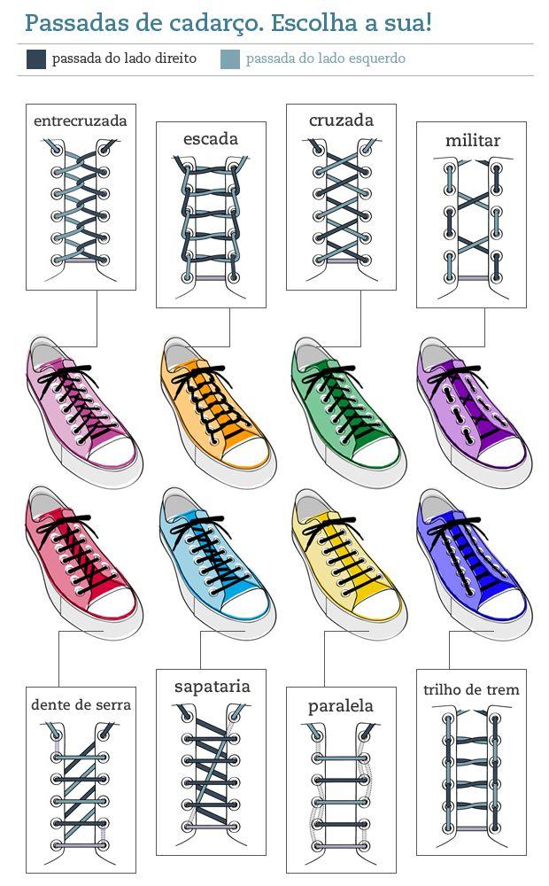 Cadarços - diferentes formas de amarrar
