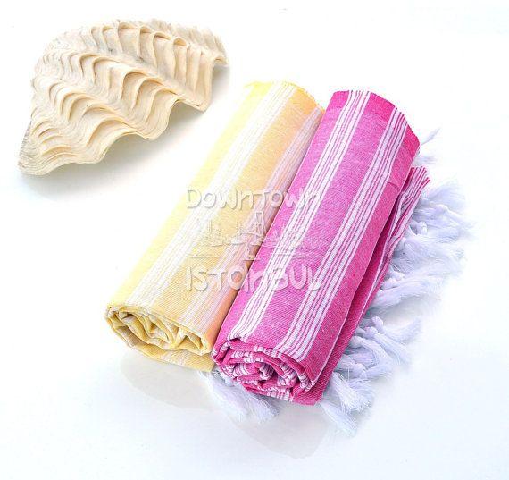 Turkish Bath Towel Set of 2 Beach Towel Fouta by DowntownIstanbul, $21.99