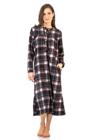 Ashford & Brooks Women's Micro Fleece Long Sleeve Nightgown - Black/White/Red - This Ashford & Brooks Micro-Fleece Long Sleeve Nightgown in beautiful prints and patterns is made of Premium lightweight ultra-soft Micro fleece non- irritating fabric, that feels great on skin and will keep you warm cozy and comfy, yet stylish at the same time. The Night dress features: Long sleeve with elastic cuffs, Lace Trim Round neck, Contrast piping and pleated top, easy 8 button closure, 2 side seam…