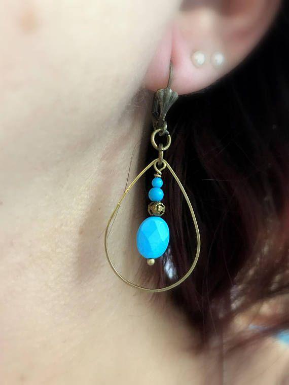Turquoise Earrings Brass Teardrop Dangle Earrings Long