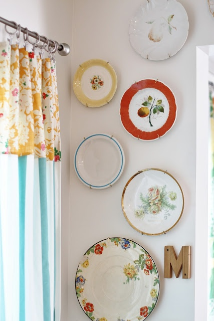 Flower Patch Farmgirl: plate wall and circus curtains