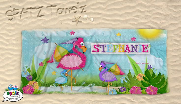 Go Go Flamingos - SPATZ Personalised Kids Beach Towels. Super soft. Super cool. Featuring your child's name our Beach Towels make finding your beach towel on those busy beaches a breeze. They are  great for pool time, swimming lessons or a day at the beach!
