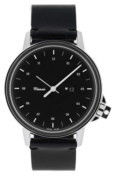 Miansai 'M12' Round Leather Strap Watch, 39mm