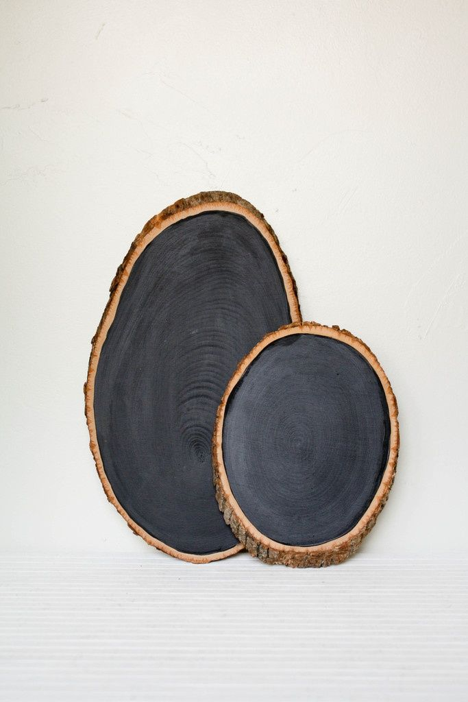 WOOD SLICE SCRIBE: Create funky, cool but rustic chalkboards. Add an even coat of chalkboard paint to circle rounds from tree trunks or old stumps, leaving the edge exposed.  Use in kitchens,  entries,  bedrooms, etc.