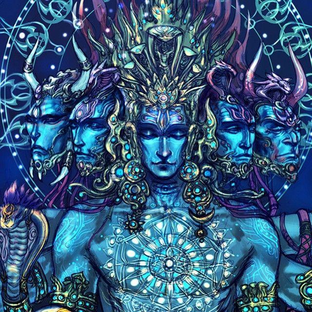 "Artist: Abhishek Singh Finally finished. ""Sadashiva"" the Shiva of eternity, five heads are vamadeva, Tatpurusha, ishana, sadyojita and aghora."