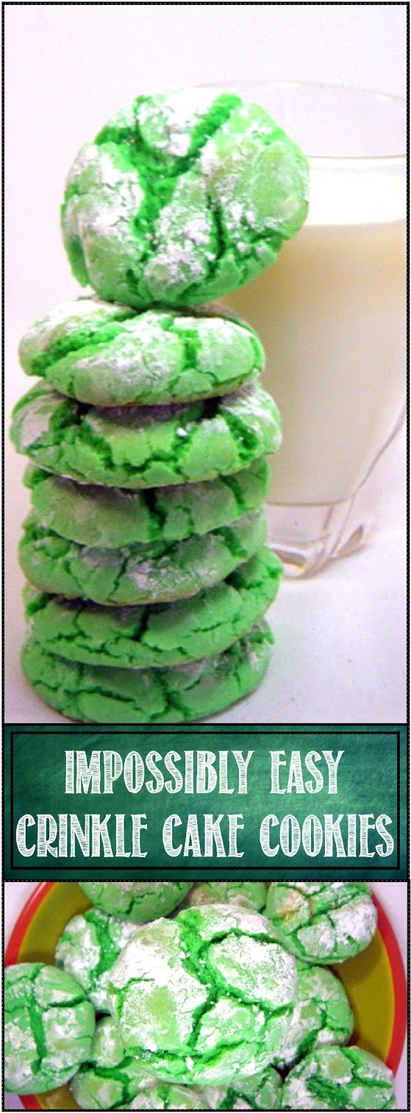 IMPOSSIBLY EASY Crinkle Cake Cookies - Minty Green for St Paddy's Day... Like it says, soooooo easy. Perfect to make with kids. Uses a store bought cake mix. Ready from opening the box to eating a hot PRETTY cookie in 20 minutes. Soft, Chewy and a GREAT presentation look!