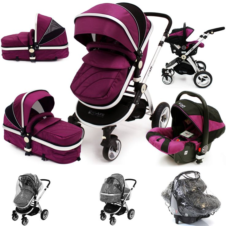 iSafe 3 in 1  Pram Travel  System - Plum (Purple) With Carseat & Raincovers - Baby Travel UK  - 1