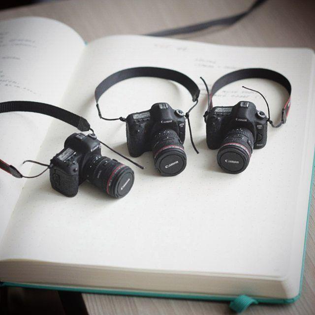"""904 Likes, 16 Comments - Tatiana Bugai (@stripedbox) on Instagram: """"Из старых работ, фотоаппараты «Canon» в масштабе 1 к 5. Мне нравилось над ними работать, надеюсь в…"""" Miniature camera - miniature cameras"""
