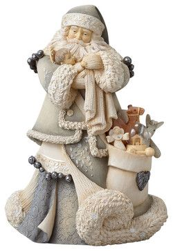 Enesco Foundations Santa With Baby Jesus Masterpiece Figurine traditional-holiday-accents-and-figurines
