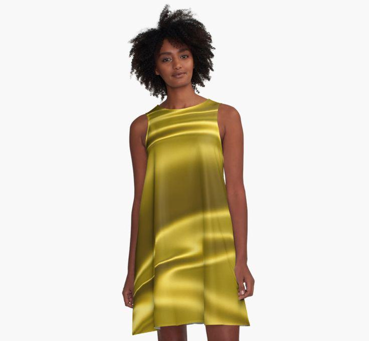 Gold sparkling silk folds by Natalia Bykova A-Line Dress on Redbubble. #yellow, #Redbubble, #golden, #dress, #alinedress, #yellowdress, #goldendress