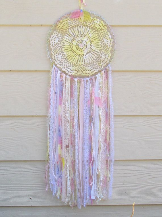 Large Doily Dreamcatcher Sunshine Lollipops. by doilydreaming
